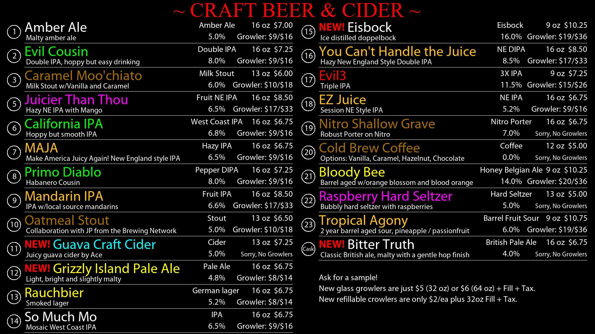 Current Tap Room Beer Menu
